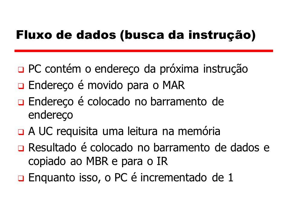 Fluxo de dados (busca da instrução)  PC contém o endereço da próxima instrução  Endereço é movido para o MAR  Endereço é colocado no barramento de
