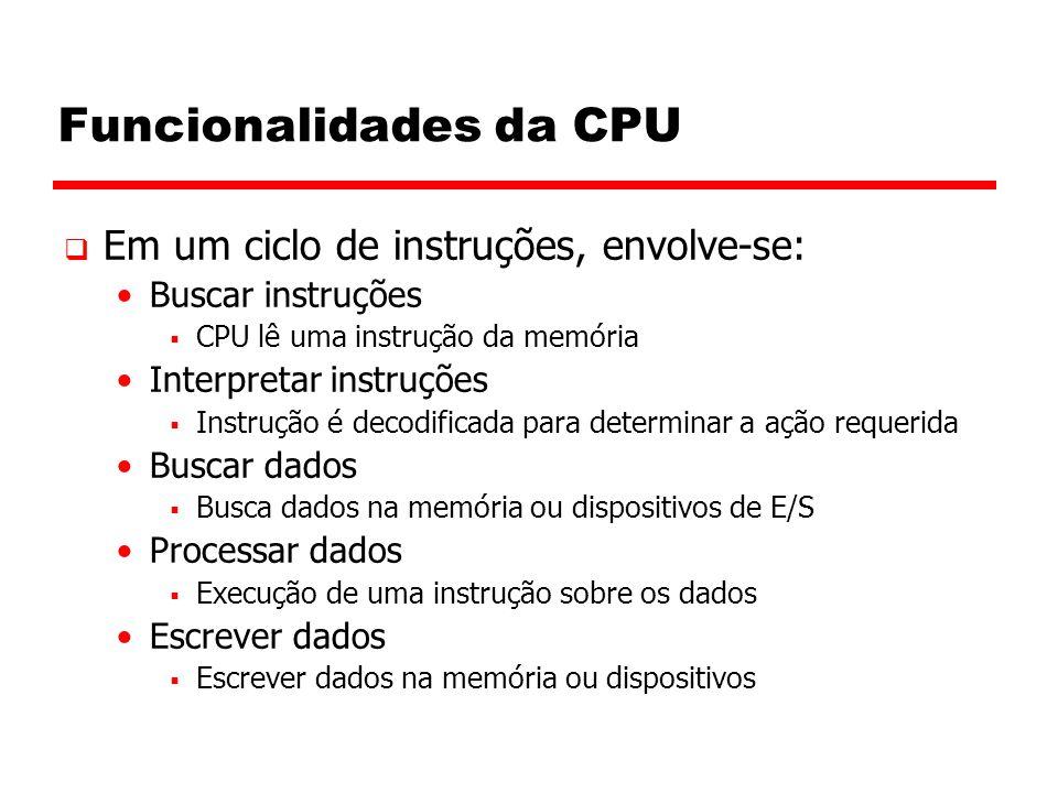 Funcionalidades da CPU  Em um ciclo de instruções, envolve-se: Buscar instruções  CPU lê uma instrução da memória Interpretar instruções  Instrução