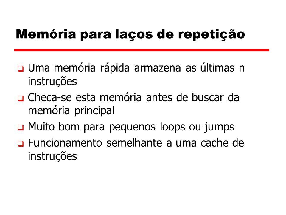 Memória para laços de repetição  Uma memória rápida armazena as últimas n instruções  Checa-se esta memória antes de buscar da memória principal  M