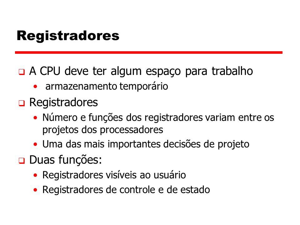Registradores  A CPU deve ter algum espaço para trabalho armazenamento temporário  Registradores Número e funções dos registradores variam entre os