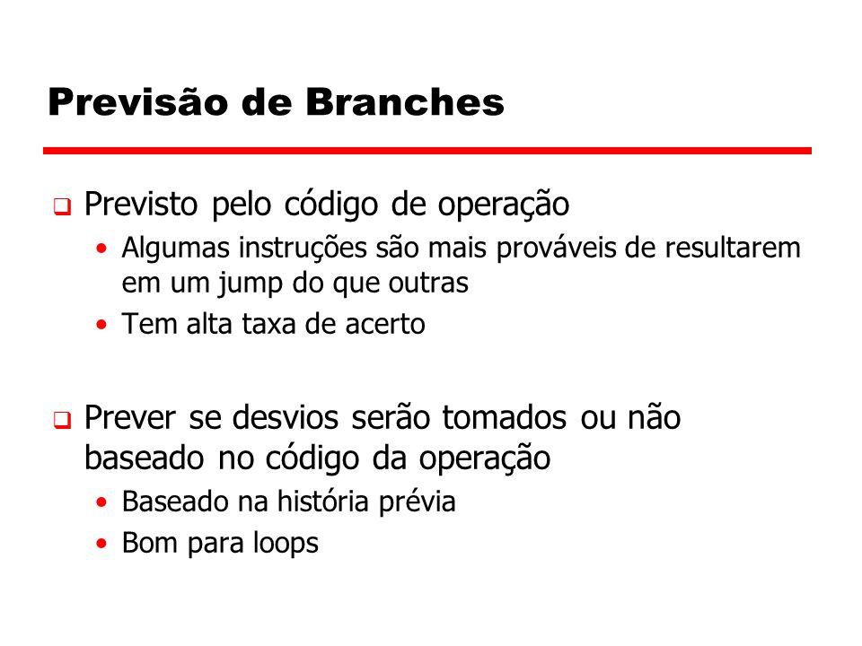 Previsão de Branches  Previsto pelo código de operação Algumas instruções são mais prováveis de resultarem em um jump do que outras Tem alta taxa de