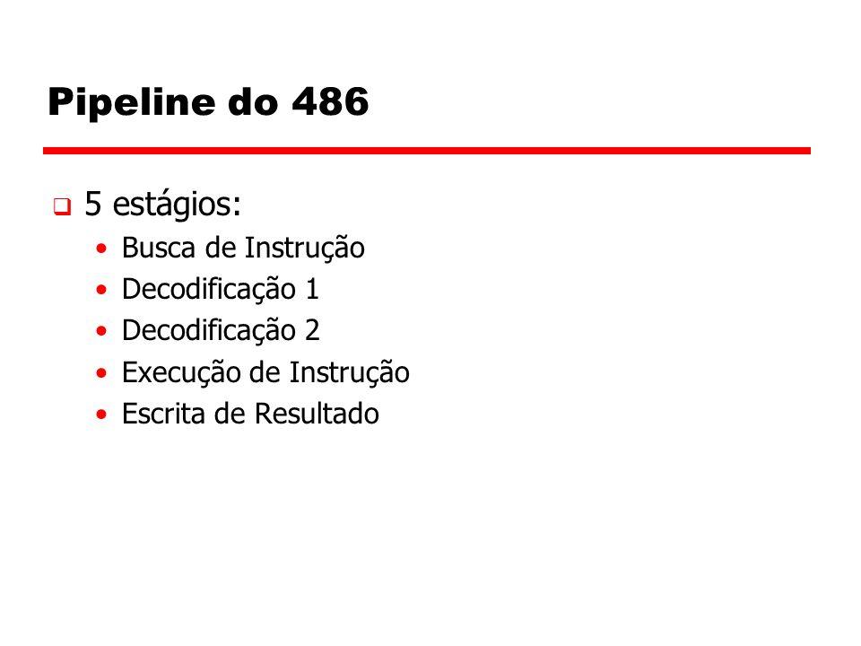 Pipeline do 486  5 estágios: Busca de Instrução Decodificação 1 Decodificação 2 Execução de Instrução Escrita de Resultado