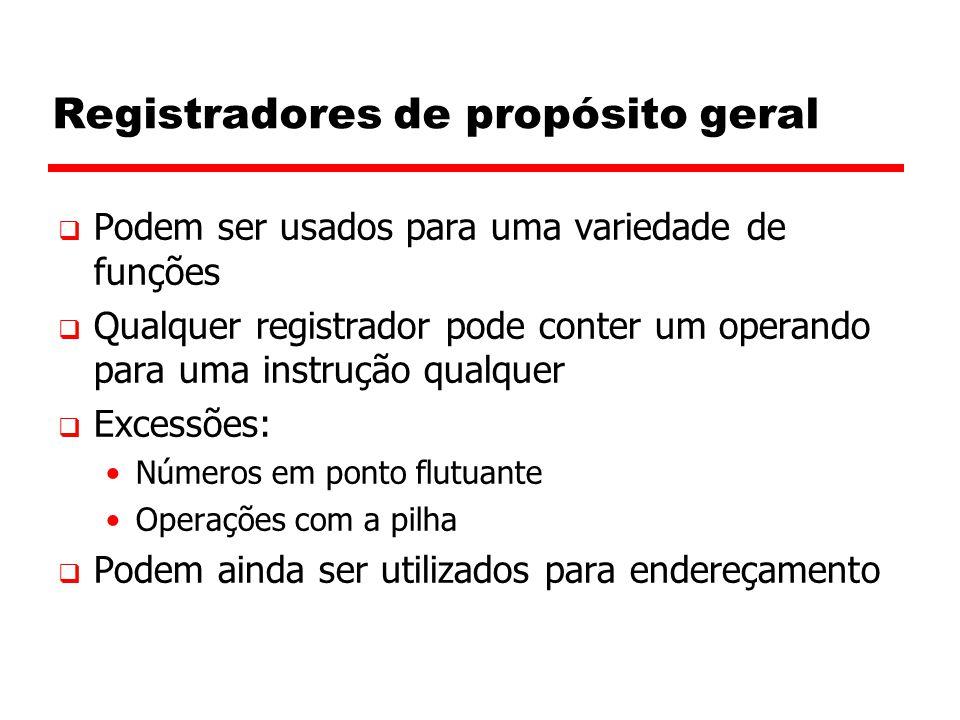 Registradores de propósito geral  Podem ser usados para uma variedade de funções  Qualquer registrador pode conter um operando para uma instrução qu