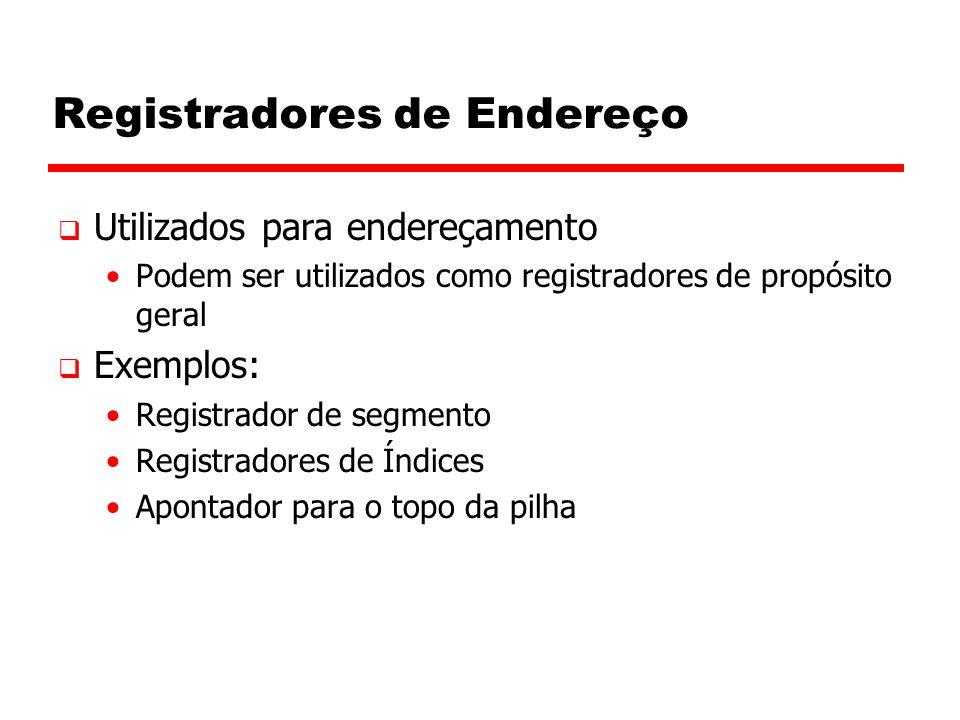 Registradores de Endereço  Utilizados para endereçamento Podem ser utilizados como registradores de propósito geral  Exemplos: Registrador de segmen