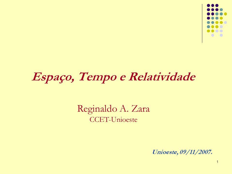 1 Espaço, Tempo e Relatividade Reginaldo A. Zara CCET-Unioeste Unioeste, 09/11/2007.