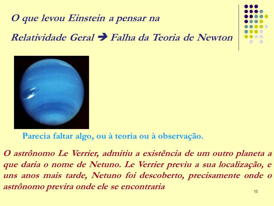 15 Parecia faltar algo, ou à teoria ou à observação. O astrônomo Le Verrier, admitiu a existência de um outro planeta a que daria o nome de Netuno. Le