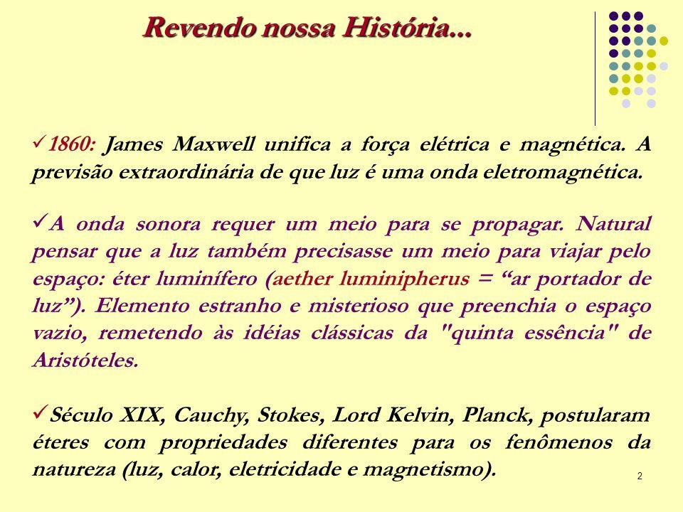 2 Revendo nossa História... 1860: James Maxwell unifica a força elétrica e magnética. A previsão extraordinária de que luz é uma onda eletromagnética.