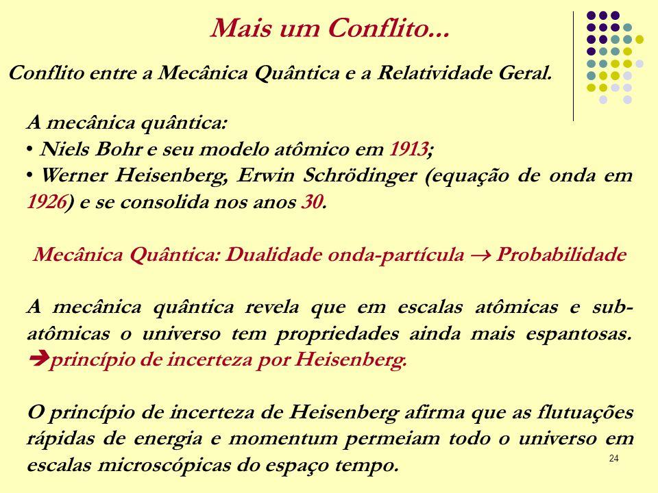 24 Mais um Conflito... A mecânica quântica: Niels Bohr e seu modelo atômico em 1913; Werner Heisenberg, Erwin Schrödinger (equação de onda em 1926) e