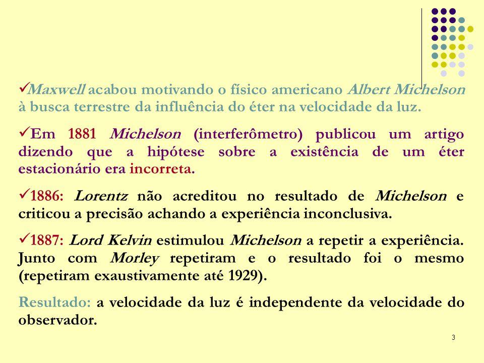 3 Maxwell acabou motivando o físico americano Albert Michelson à busca terrestre da influência do éter na velocidade da luz. Em 1881 Michelson (interf
