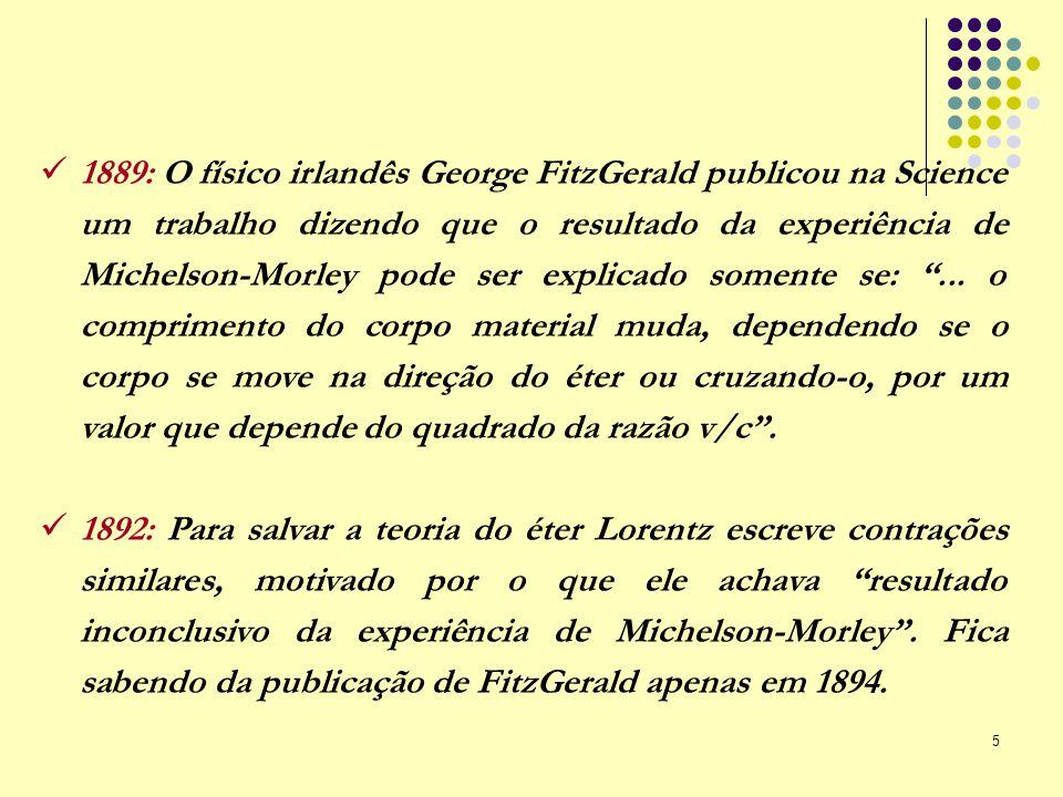 5 1889: O físico irlandês George FitzGerald publicou na Science um trabalho dizendo que o resultado da experiência de Michelson-Morley pode ser explic