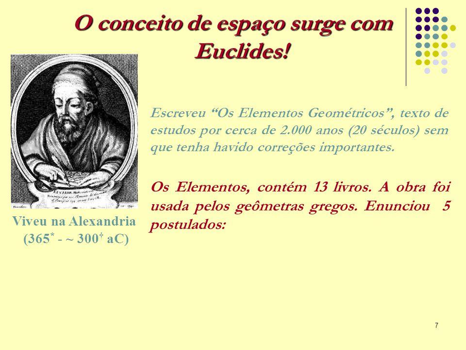 """7 Viveu na Alexandria (365 * - ~ 300 † aC) O conceito de espaço surge com Euclides! Escreveu """"Os Elementos Geométricos"""", texto de estudos por cerca de"""