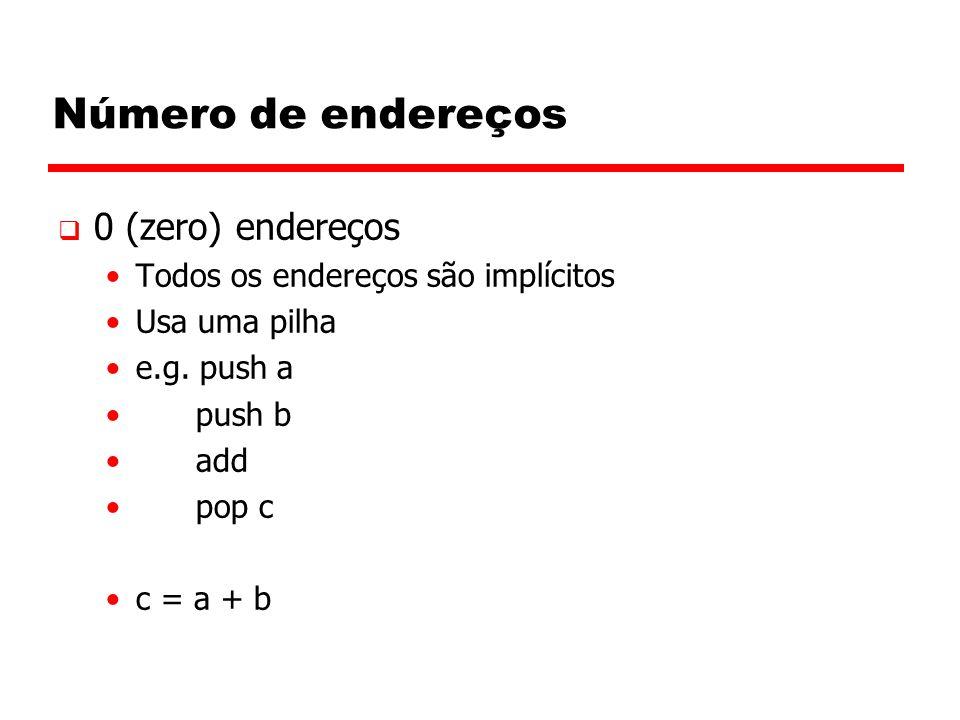 Número de endereços  0 (zero) endereços Todos os endereços são implícitos Usa uma pilha e.g.