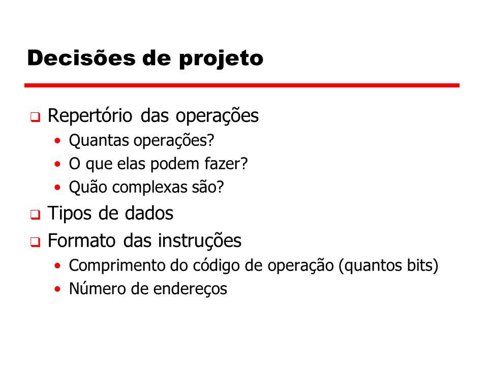 Decisões de projeto  Repertório das operações Quantas operações.