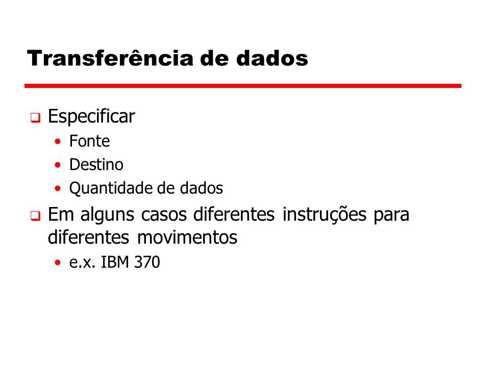 Transferência de dados  Especificar Fonte Destino Quantidade de dados  Em alguns casos diferentes instruções para diferentes movimentos e.x.