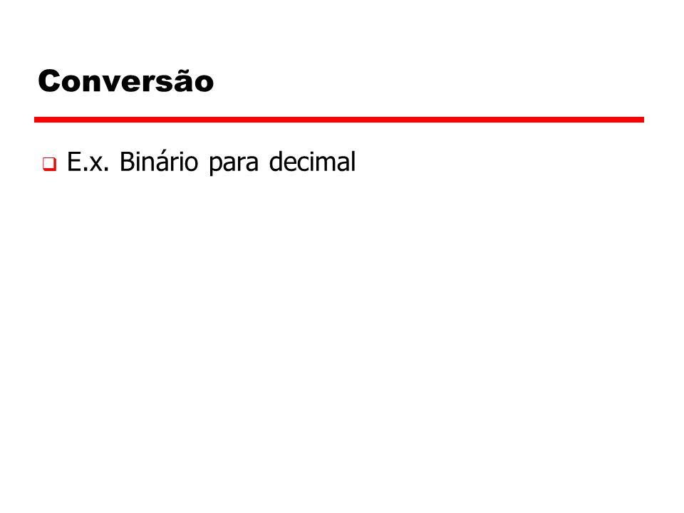 Conversão  E.x. Binário para decimal