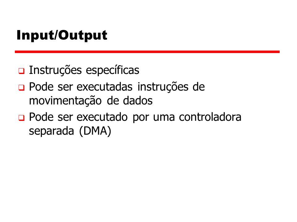 Input/Output  Instruções específicas  Pode ser executadas instruções de movimentação de dados  Pode ser executado por uma controladora separada (DMA)