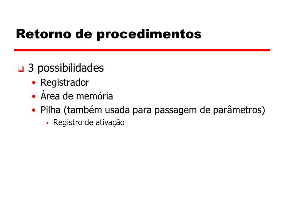 Retorno de procedimentos  3 possibilidades Registrador Área de memória Pilha (também usada para passagem de parâmetros)  Registro de ativação