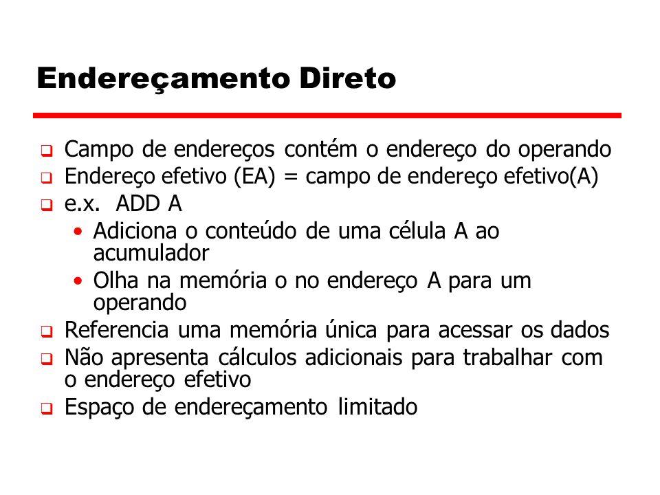 Endereçamento Direto  Campo de endereços contém o endereço do operando  Endereço efetivo (EA) = campo de endereço efetivo(A)  e.x.