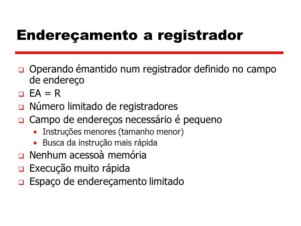 Endereçamento a registrador  Operando émantido num registrador definido no campo de endereço  EA = R  Número limitado de registradores  Campo de endereços necessário é pequeno Instruções menores (tamanho menor) Busca da instrução mais rápida  Nenhum acessoà memória  Execução muito rápida  Espaço de endereçamento limitado