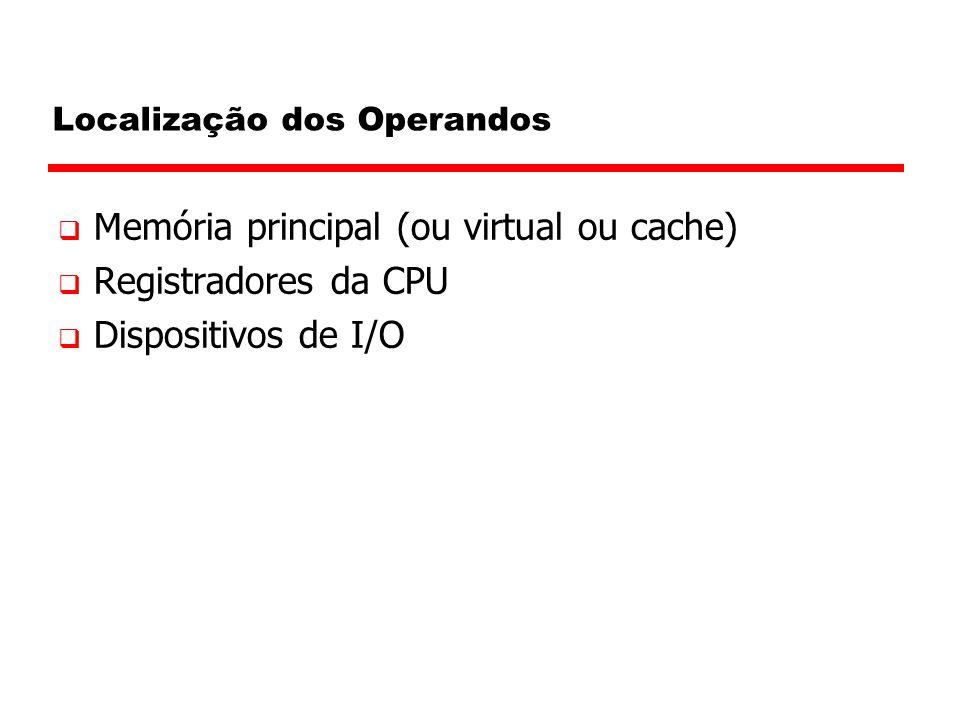 Localização dos Operandos  Memória principal (ou virtual ou cache)  Registradores da CPU  Dispositivos de I/O