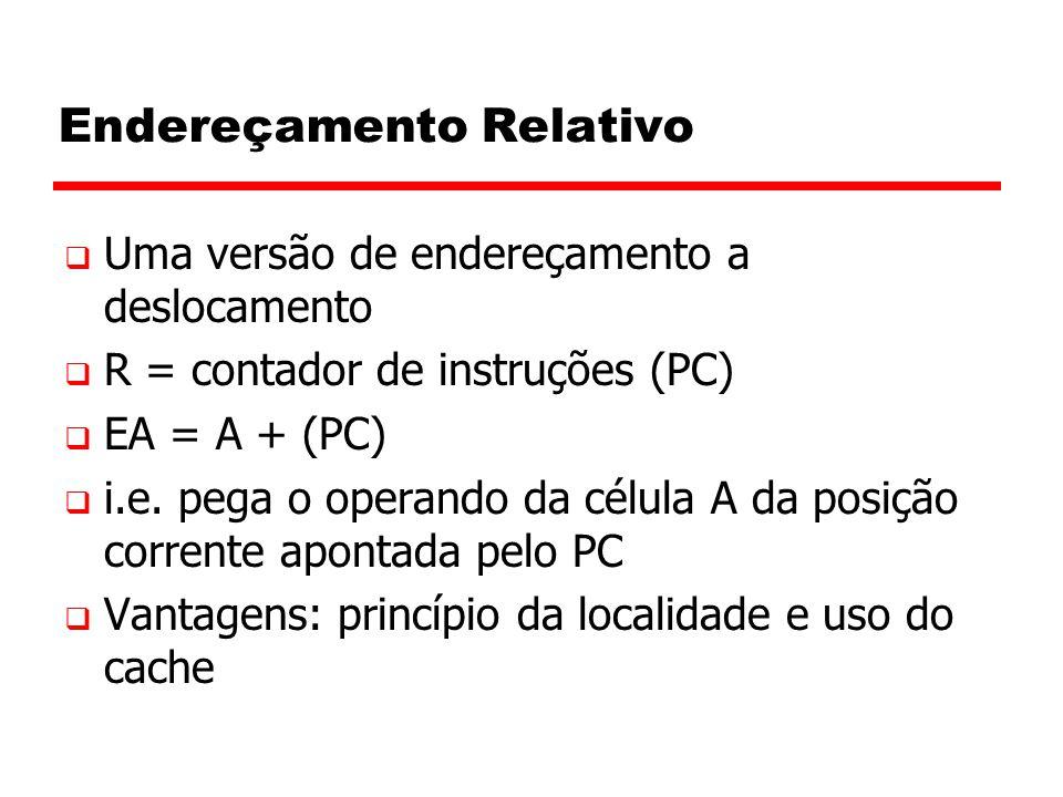 Endereçamento Relativo  Uma versão de endereçamento a deslocamento  R = contador de instruções (PC)  EA = A + (PC)  i.e.