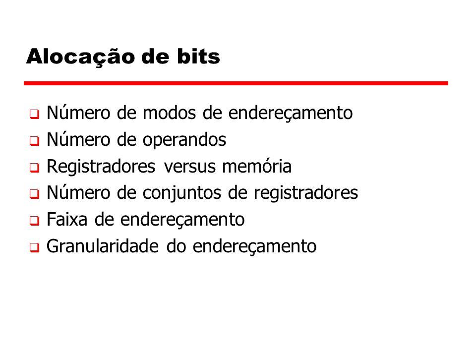 Alocação de bits  Número de modos de endereçamento  Número de operandos  Registradores versus memória  Número de conjuntos de registradores  Faixa de endereçamento  Granularidade do endereçamento