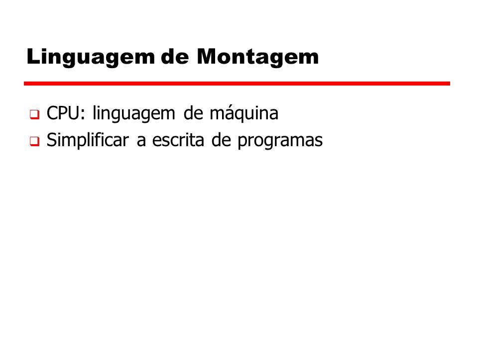 Linguagem de Montagem  CPU: linguagem de máquina  Simplificar a escrita de programas