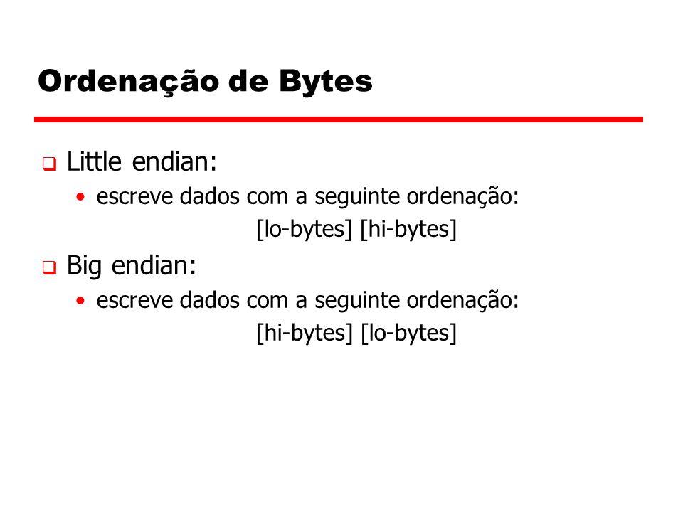 Ordenação de Bytes  Little endian: escreve dados com a seguinte ordenação: [lo-bytes] [hi-bytes]  Big endian: escreve dados com a seguinte ordenação: [hi-bytes] [lo-bytes]
