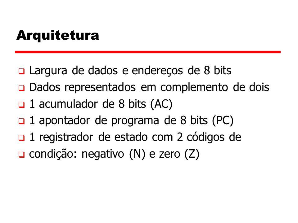 Arquitetura  Largura de dados e endereços de 8 bits  Dados representados em complemento de dois  1 acumulador de 8 bits (AC)  1 apontador de programa de 8 bits (PC)  1 registrador de estado com 2 códigos de  condição: negativo (N) e zero (Z)