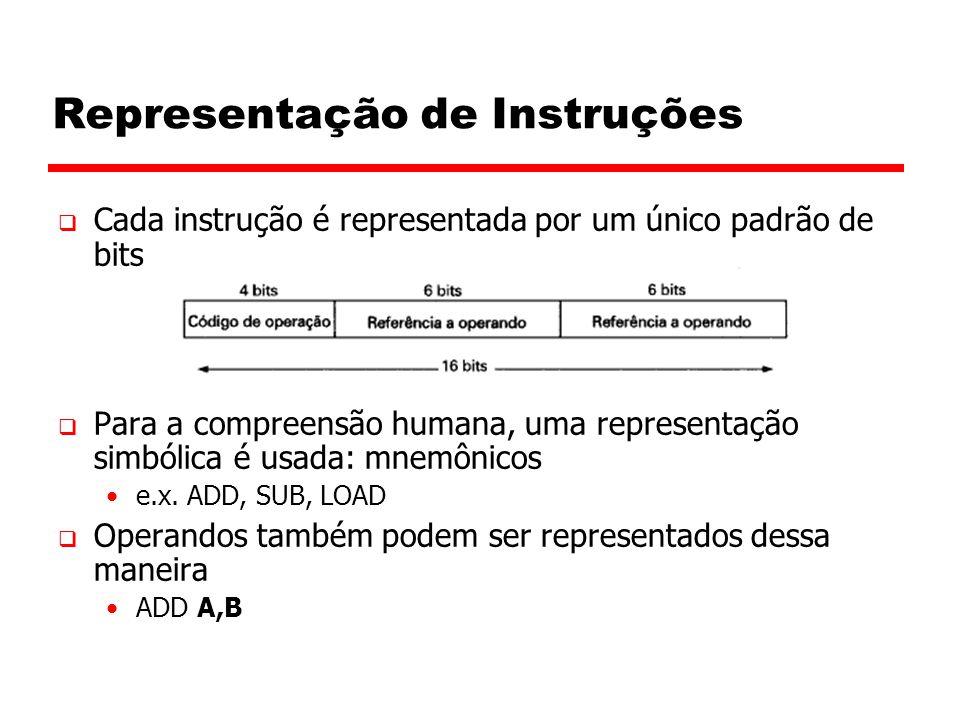 Representação de Instruções  Cada instrução é representada por um único padrão de bits  Para a compreensão humana, uma representação simbólica é usada: mnemônicos e.x.
