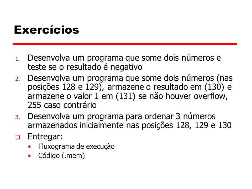 Exercícios 1.Desenvolva um programa que some dois números e teste se o resultado é negativo 2.