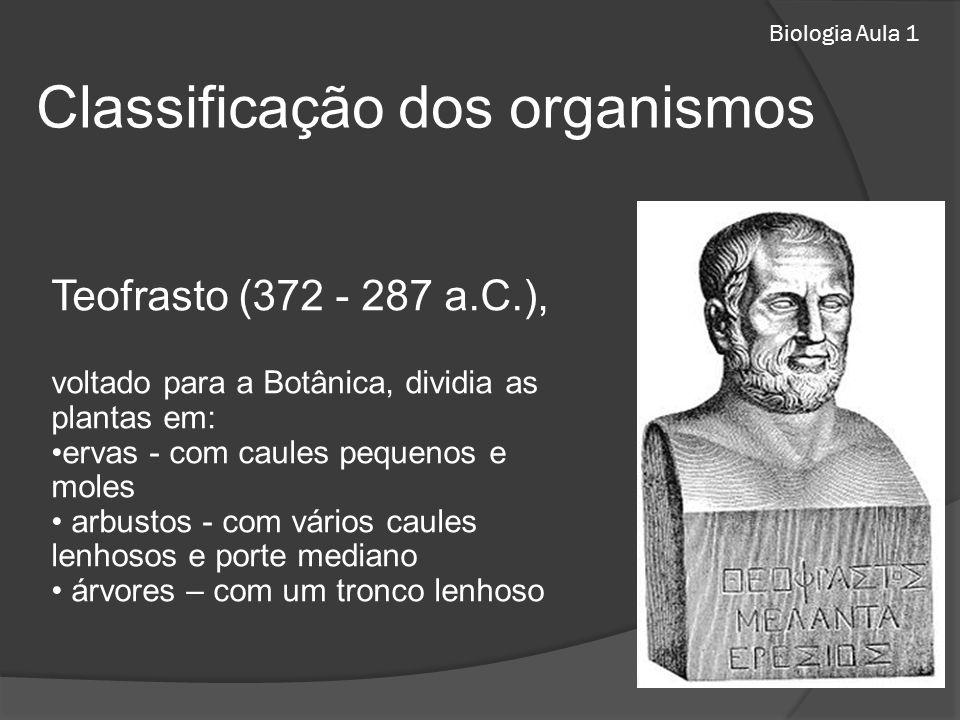 Biologia Aula 1 Teofrasto (372 - 287 a.C.), voltado para a Botânica, dividia as plantas em: ervas - com caules pequenos e moles arbustos - com vários
