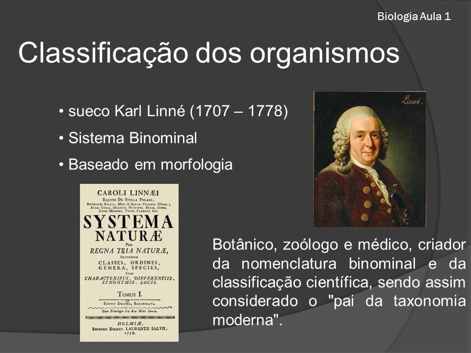 Biologia Aula 1 sueco Karl Linné (1707 – 1778) Sistema Binominal Baseado em morfologia Botânico, zoólogo e médico, criador da nomenclatura binominal e da classificação científica, sendo assim considerado o pai da taxonomia moderna .