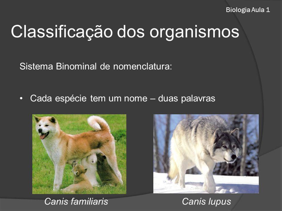 Biologia Aula 1 Sistema Binominal de nomenclatura: Cada espécie tem um nome – duas palavras Classificação dos organismos Canis lupusCanis familiaris