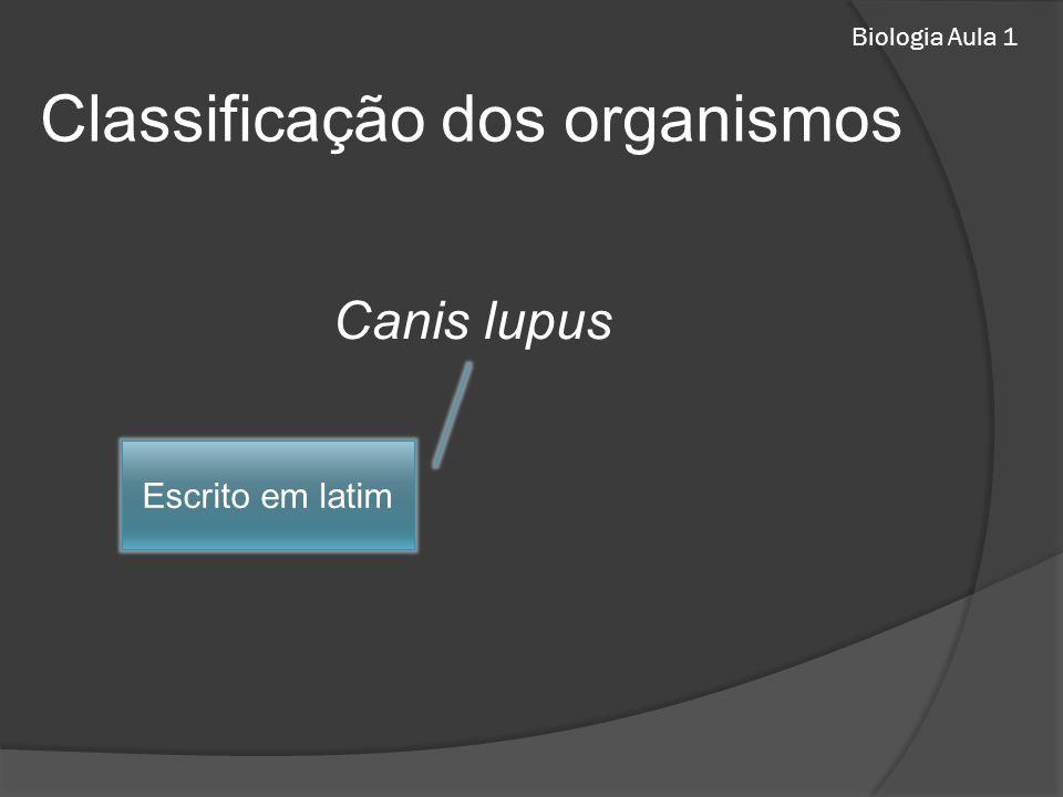 Biologia Aula 1 Classificação dos organismos Canis lupus Escrito em latim