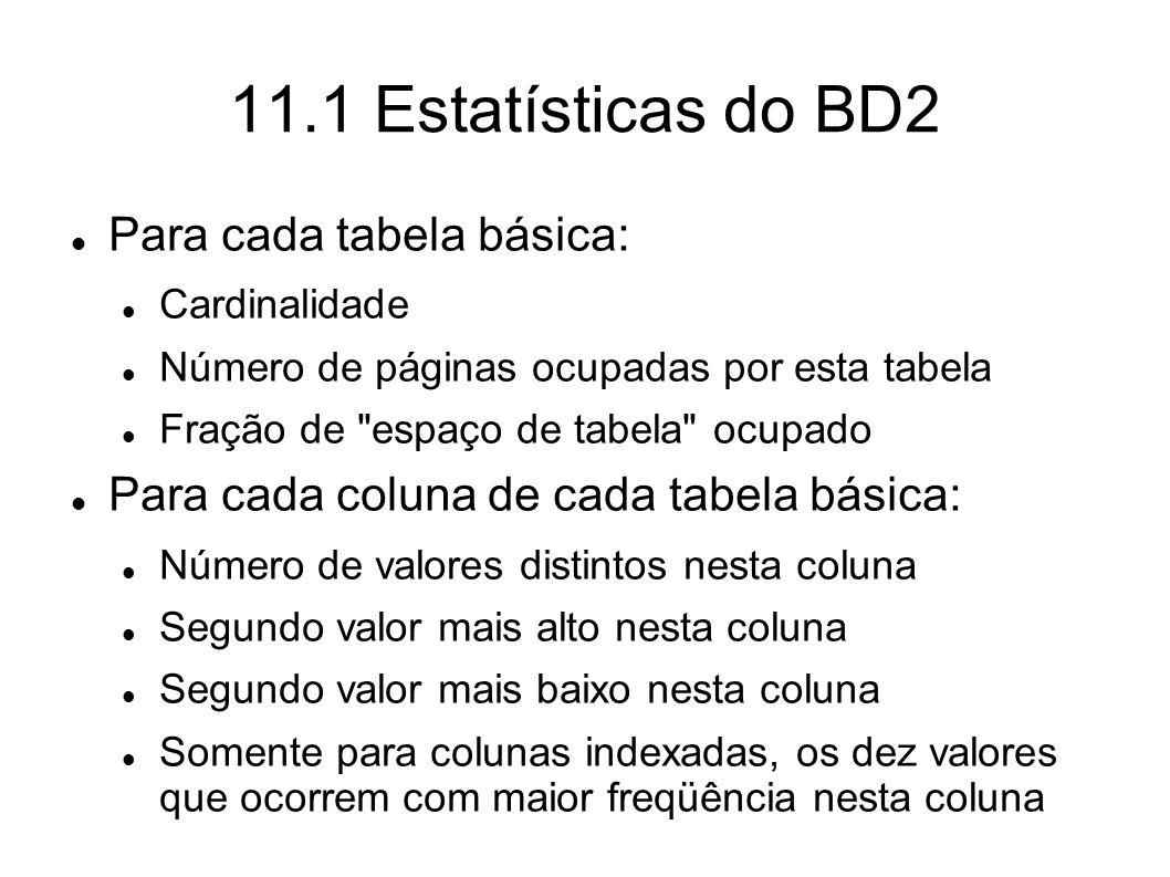 11.1 Estatísticas do BD2 Para cada tabela básica: Cardinalidade Número de páginas ocupadas por esta tabela Fração de
