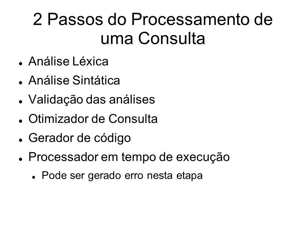 2 Passos do Processamento de uma Consulta Análise Léxica Análise Sintática Validação das análises Otimizador de Consulta Gerador de código Processador