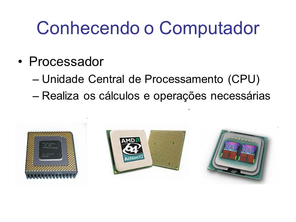 Conhecendo o Computador Processador –Unidade Central de Processamento (CPU) –Realiza os cálculos e operações necessárias