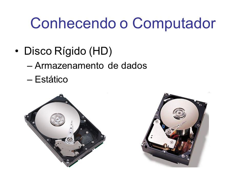 Conhecendo o Computador Disco Rígido (HD) –Armazenamento de dados –Estático