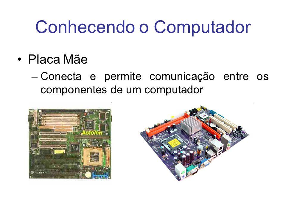 Conhecendo o Computador Placa Mãe –Conecta e permite comunicação entre os componentes de um computador