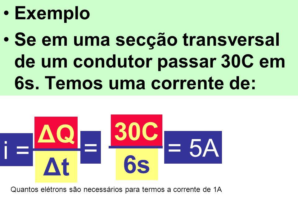 Exemplo Se em uma secção transversal de um condutor passar 30C em 6s. Temos uma corrente de: i = ΔQΔQ ΔtΔt = 30C 6s = 5A Quantos elétrons são necessár