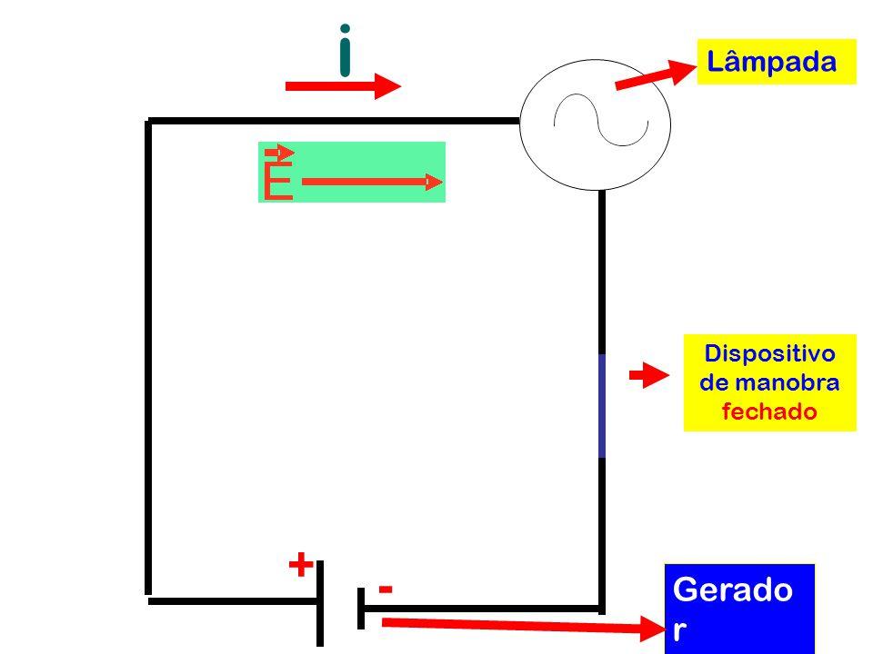 i + - Dispositivo de manobra fechado Gerado r elétrico Lâmpada
