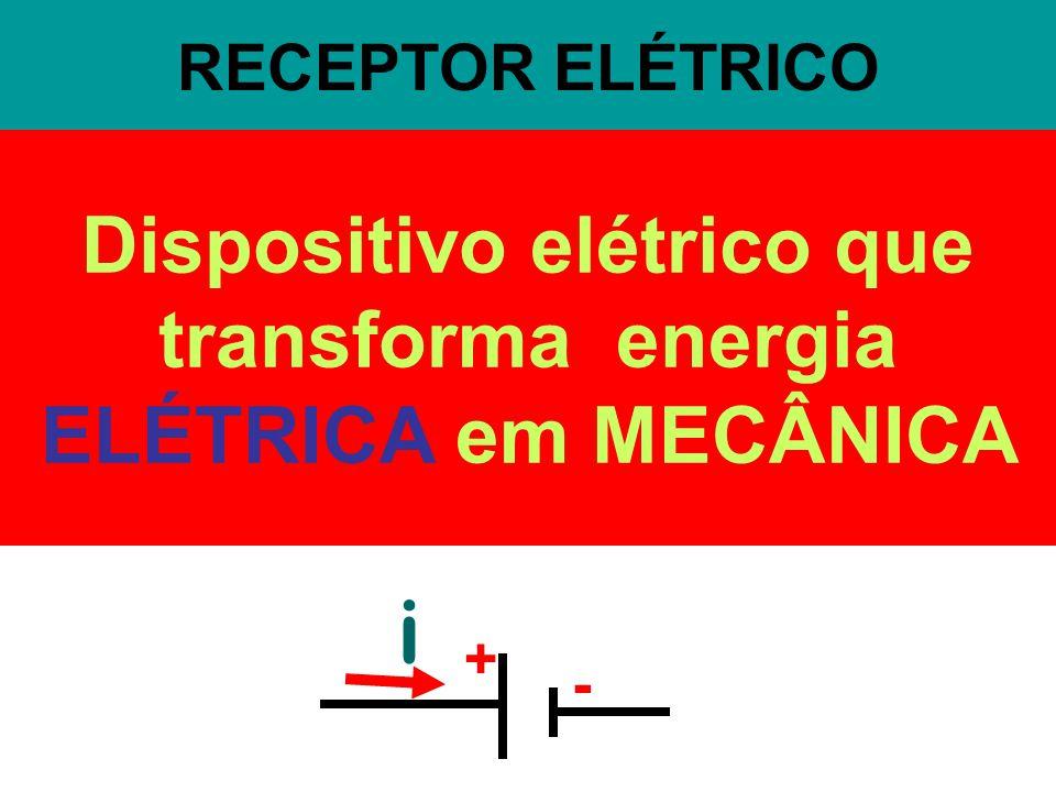 RECEPTOR ELÉTRICO Dispositivo elétrico que transforma energia ELÉTRICA em MECÂNICA + - i