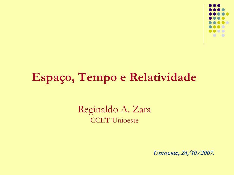 Espaço, Tempo e Relatividade Reginaldo A. Zara CCET-Unioeste Unioeste, 26/10/2007.