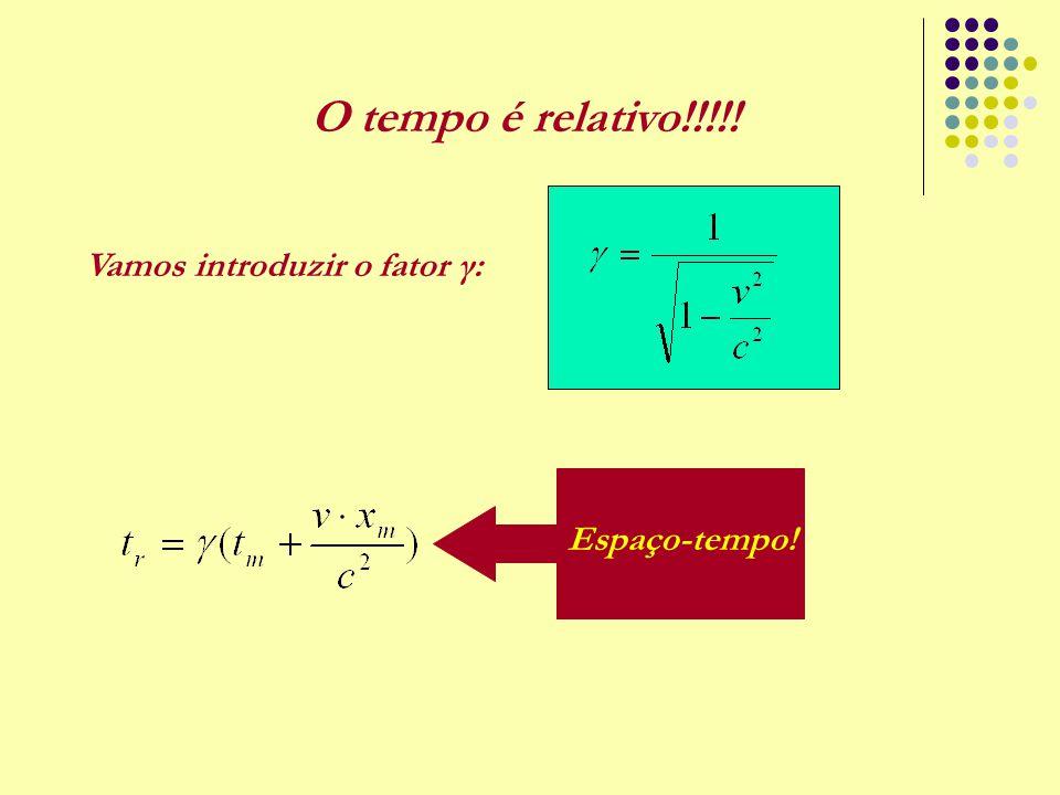 O tempo é relativo!!!!! Espaço-tempo! Vamos introduzir o fator γ: