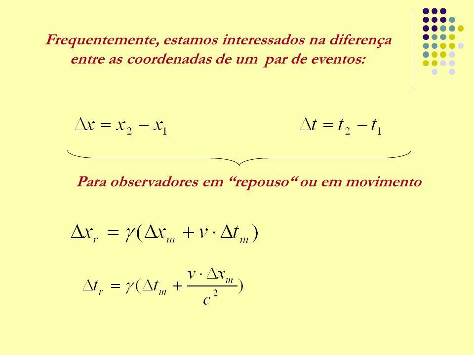 """Frequentemente, estamos interessados na diferença entre as coordenadas de um par de eventos: Para observadores em """"repouso"""" ou em movimento"""