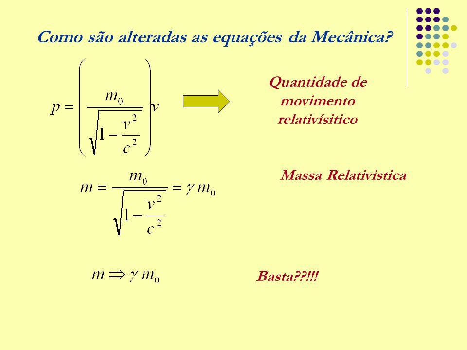 Como são alteradas as equações da Mecânica? Quantidade de movimento relativísitico Basta??!!! Massa Relativistica