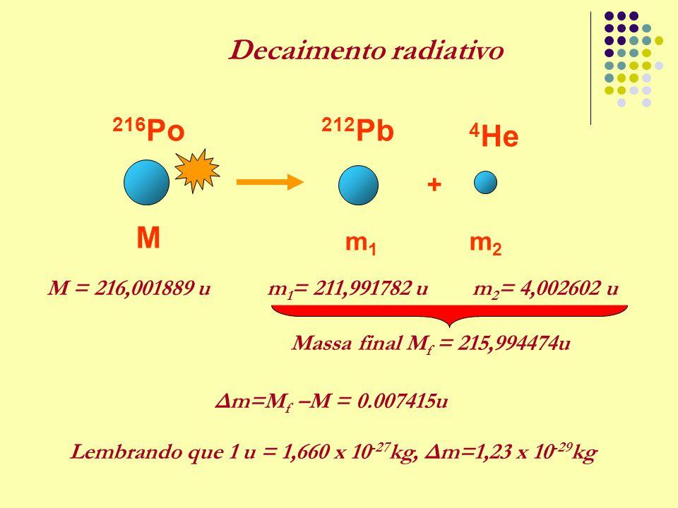 m1m1 M m2m2 + 216 Po 212 Pb 4 He M = 216,001889 um 1 = 211,991782 um 2 = 4,002602 u Massa final M f = 215,994474u Δm=M f –M = 0.007415u Lembrando que