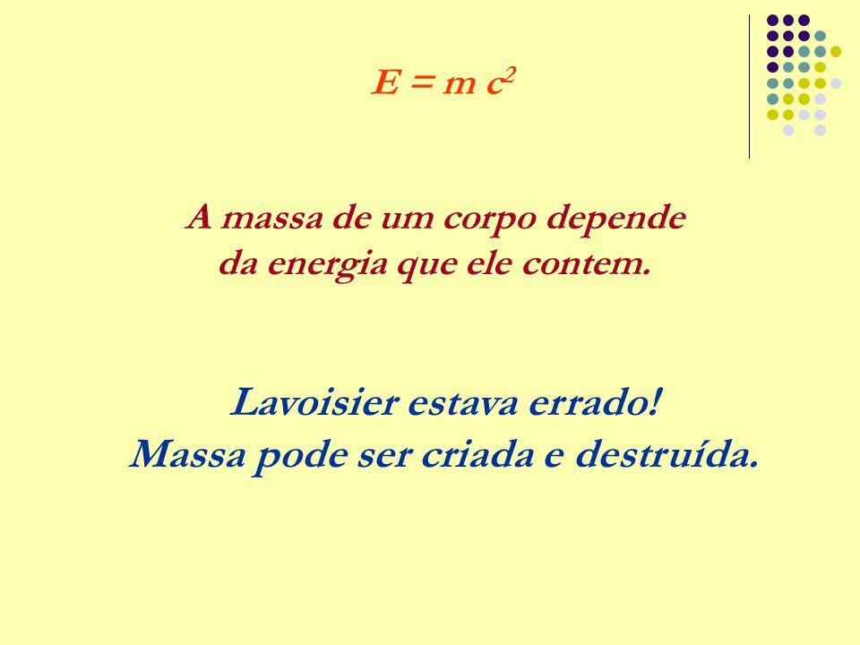 A massa de um corpo depende da energia que ele contem. E = m c 2 Lavoisier estava errado! Massa pode ser criada e destruída.