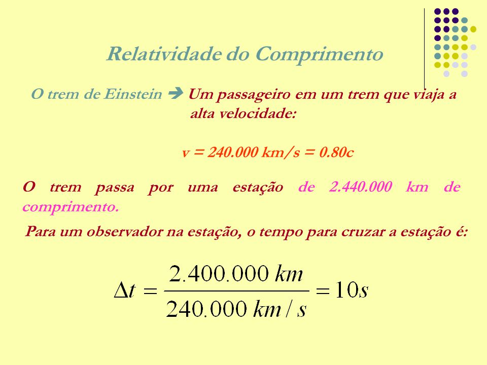 Relatividade do Comprimento O trem de Einstein  Um passageiro em um trem que viaja a alta velocidade: v = 240.000 km/s = 0.80c O trem passa por uma e